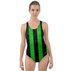 Stripes1 Black Marble & Green Brushed Metal Cut Out Back One Piece Swimsuit