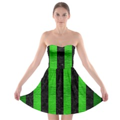 Stripes1 Black Marble & Green Brushed Metal Strapless Bra Top Dress