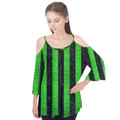 Stripes1 Black Marble & Green Brushed Metal Flutter Tees