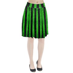 Stripes1 Black Marble & Green Brushed Metal Pleated Skirt