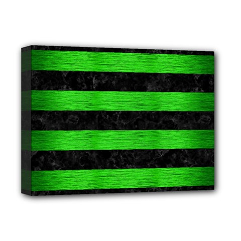Stripes2 Black Marble & Green Brushed Metal Deluxe Canvas 16  X 12