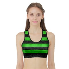Stripes2 Black Marble & Green Brushed Metal Sports Bra With Border