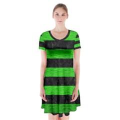 Stripes2 Black Marble & Green Brushed Metal Short Sleeve V Neck Flare Dress