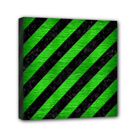 Stripes3 Black Marble & Green Brushed Metal Mini Canvas 6  X 6