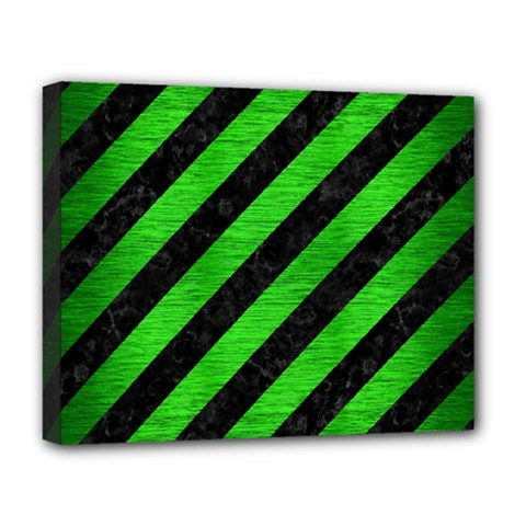 Stripes3 Black Marble & Green Brushed Metal Deluxe Canvas 20  X 16