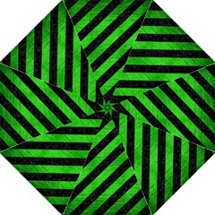 Stripes3 Black Marble & Green Brushed Metal Golf Umbrellas