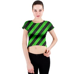 Stripes3 Black Marble & Green Brushed Metal Crew Neck Crop Top