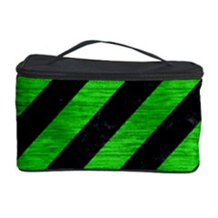 Stripes3 Black Marble & Green Brushed Metal Cosmetic Storage Case