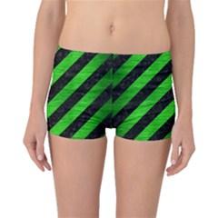 Stripes3 Black Marble & Green Brushed Metal Boyleg Bikini Bottoms