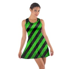 Stripes3 Black Marble & Green Brushed Metal Cotton Racerback Dress