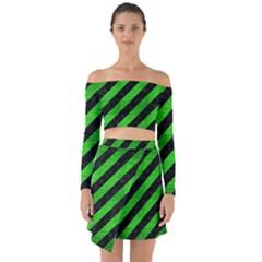 Stripes3 Black Marble & Green Brushed Metal Off Shoulder Top With Skirt Set
