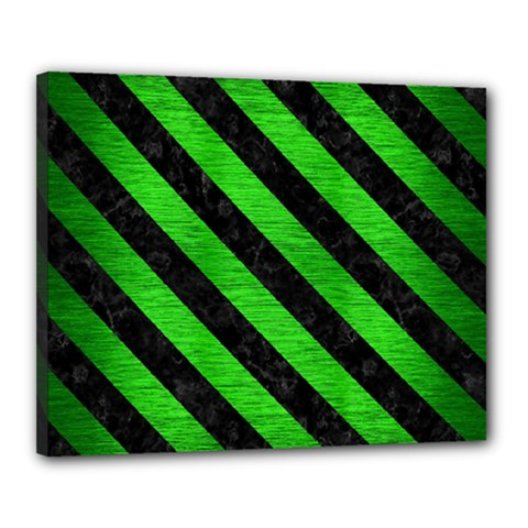 Stripes3 Black Marble & Green Brushed Metal (r) Canvas 20  X 16