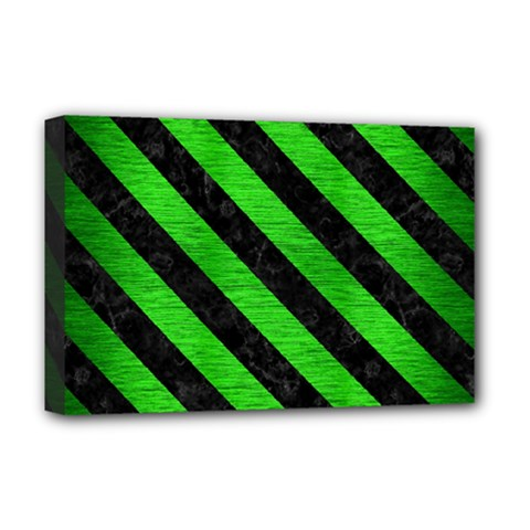 Stripes3 Black Marble & Green Brushed Metal (r) Deluxe Canvas 18  X 12