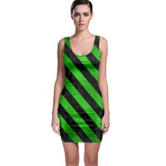 Stripes3 Black Marble & Green Brushed Metal (r) Bodycon Dress