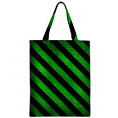 Stripes3 Black Marble & Green Brushed Metal (r) Zipper Classic Tote Bag