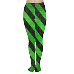 Stripes3 Black Marble & Green Brushed Metal (r) Women s Tights