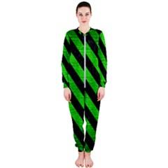 Stripes3 Black Marble & Green Brushed Metal (r) Onepiece Jumpsuit (ladies)