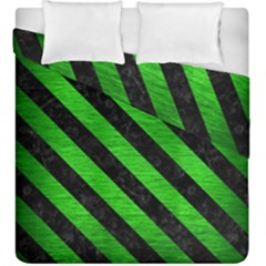Stripes3 Black Marble & Green Brushed Metal (r) Duvet Cover Double Side (king Size)