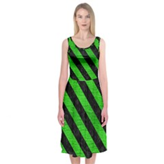 Stripes3 Black Marble & Green Brushed Metal (r) Midi Sleeveless Dress