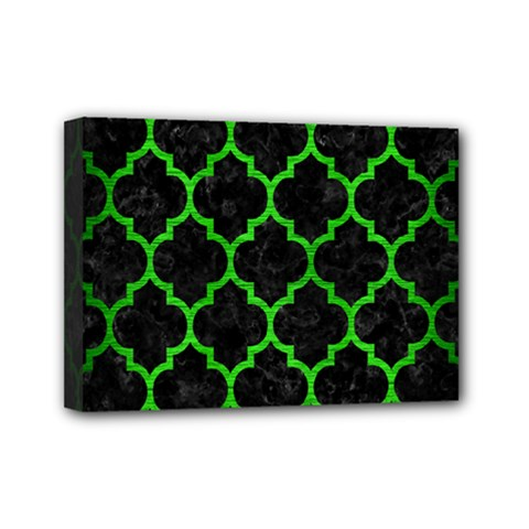 Tile1 Black Marble & Green Brushed Metal Mini Canvas 7  X 5