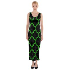 Tile1 Black Marble & Green Brushed Metal Fitted Maxi Dress