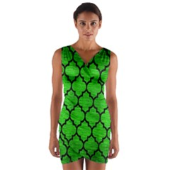 Tile1 Black Marble & Green Brushed Metal (r) Wrap Front Bodycon Dress