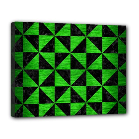 Triangle1 Black Marble & Green Brushed Metal Canvas 14  X 11