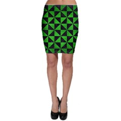 Triangle1 Black Marble & Green Brushed Metal Bodycon Skirt