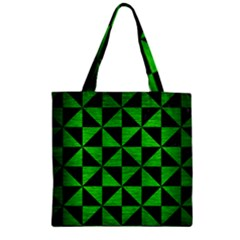 Triangle1 Black Marble & Green Brushed Metal Zipper Grocery Tote Bag