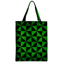 Triangle1 Black Marble & Green Brushed Metal Zipper Classic Tote Bag