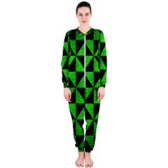 Triangle1 Black Marble & Green Brushed Metal Onepiece Jumpsuit (ladies)