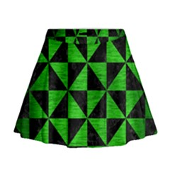 Triangle1 Black Marble & Green Brushed Metal Mini Flare Skirt