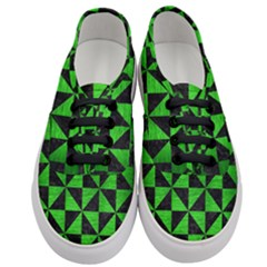 Triangle1 Black Marble & Green Brushed Metal Women s Classic Low Top Sneakers