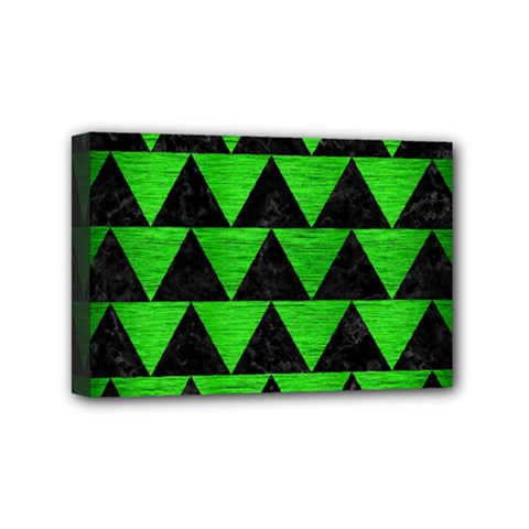 Triangle2 Black Marble & Green Brushed Metal Mini Canvas 6  X 4