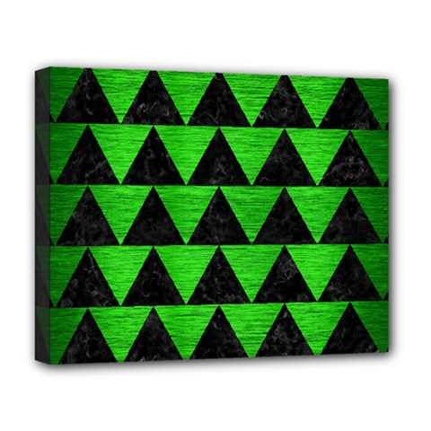 Triangle2 Black Marble & Green Brushed Metal Deluxe Canvas 20  X 16