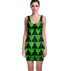 Triangle2 Black Marble & Green Brushed Metal Bodycon Dress