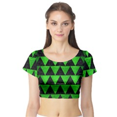 Triangle2 Black Marble & Green Brushed Metal Short Sleeve Crop Top