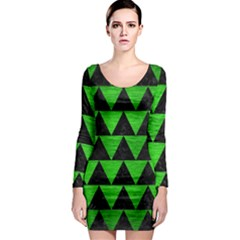 Triangle2 Black Marble & Green Brushed Metal Long Sleeve Bodycon Dress