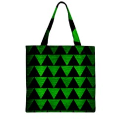 Triangle2 Black Marble & Green Brushed Metal Zipper Grocery Tote Bag