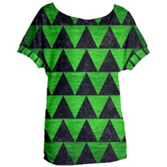 Triangle2 Black Marble & Green Brushed Metal Women s Oversized Tee