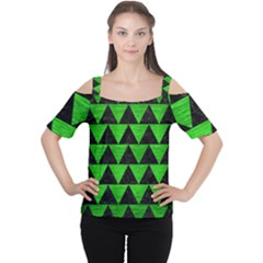 Triangle2 Black Marble & Green Brushed Metal Cutout Shoulder Tee