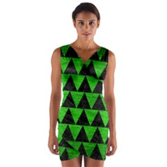 Triangle2 Black Marble & Green Brushed Metal Wrap Front Bodycon Dress