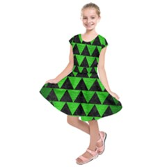 Triangle2 Black Marble & Green Brushed Metal Kids  Short Sleeve Dress