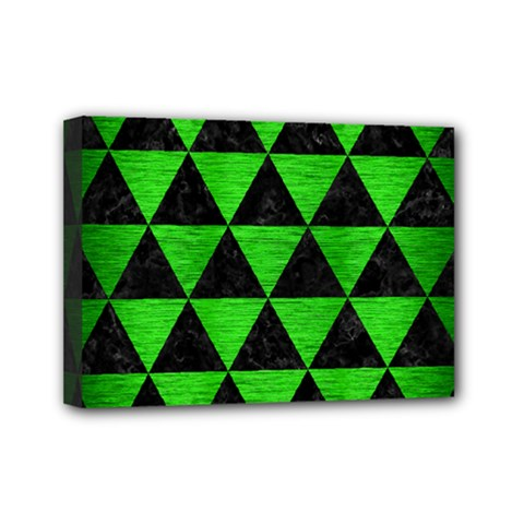 Triangle3 Black Marble & Green Brushed Metal Mini Canvas 7  X 5