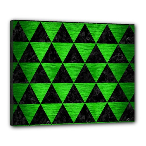 Triangle3 Black Marble & Green Brushed Metal Canvas 20  X 16