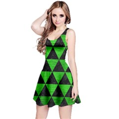 Triangle3 Black Marble & Green Brushed Metal Reversible Sleeveless Dress