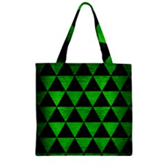 Triangle3 Black Marble & Green Brushed Metal Zipper Grocery Tote Bag