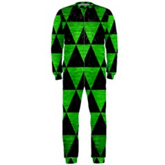 Triangle3 Black Marble & Green Brushed Metal Onepiece Jumpsuit (men)