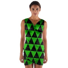 Triangle3 Black Marble & Green Brushed Metal Wrap Front Bodycon Dress