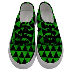 Triangle3 Black Marble & Green Brushed Metal Men s Classic Low Top Sneakers